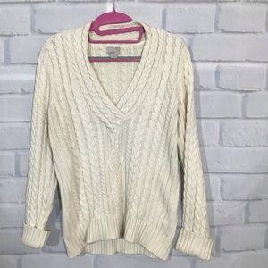 Caslon Cream Cableknit V-Neck Sweater